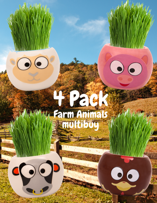 Grass Hair Kit - Farm Animals 4 Pack