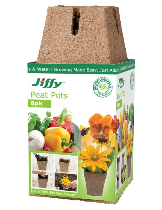 Jiffy 8cm Peat Pots (8 pots)